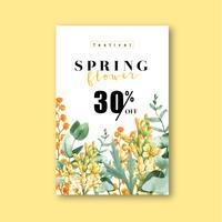 Vårens färska blomma försäljning affisch vektor