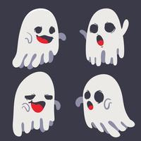 spooky ghost halloween emotion set