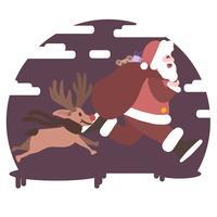 Weihnachtsmann, der mit Rudolf den schneebedeckten Hintergrund des roten Nasenren läuft