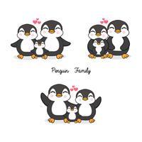 Familie von Pinguinen im flachen Stil. vektor
