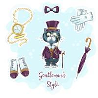 Katze im Gentleman-Stil vektor
