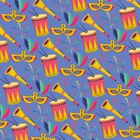 Sömlös karnevalbakgrund med masker, trummor och trumpeter
