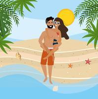 Tragende Frau des Mannes ziehen an sich am Strand zurück