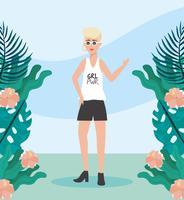 Junge Frau mit kurzen Haaren mit Blumen und Pflanzen