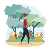 Frau, die Smartphone im Park betrachtet vektor