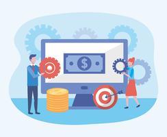 Geschäftsfrau und Geschäftsmann mit Bildschirm mit Rechnungen und Münzen