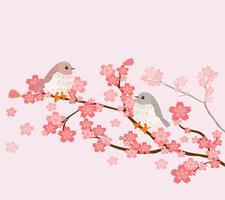 söta fåglar med körsbärsträd vektor