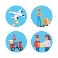 Satz Paketlieferungs- und -serviceelemente