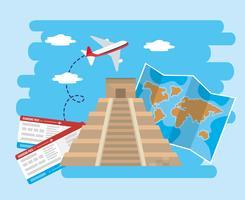 Inskriftstempel med flygplan med biljetter och karta