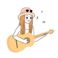 kvinna som spelar gitarr vektor