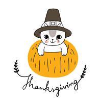 Thanksgiving-Katze und Kürbis vektor