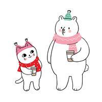 Winter, Katze und Eisbär, die Kaffee trinken