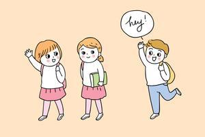 zurück in die Schule, Junge und Mädchen