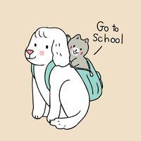 Zurück in die Schule gehen Hund und Katze in die Schule vektor