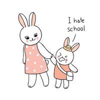 tillbaka till skolan mamma och baby kanin går till skolan vektor