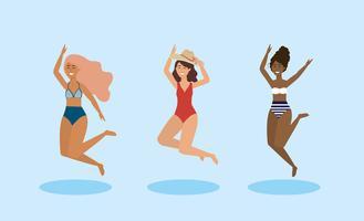 Uppsättning av kvinnor i baddräkter som hoppar