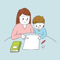 lärare och smart pojke vektor