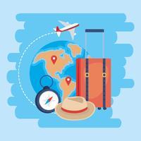 Resväska med världskarta och kompass vektor