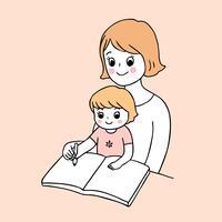 tillbaka till skolan mamma och barn skriva vektor