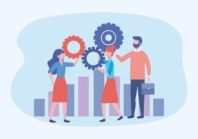 Affärskvinnor och affärsman med kugghjul och stapeldiagram