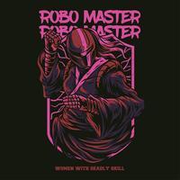 Robotermeisterillustrationst-shirt Entwurf