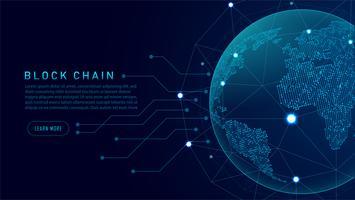 Blockchain-teknik med global anslutningskoncept vektor