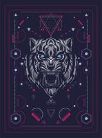 tiger huvudet vektorillustration färgglada