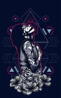 Frauenvektorillustrations-T-Shirt Design