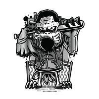Hockeyschwarzweiss-Illustrationst-shirt Entwurf