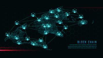 Blockchain mit globalem Verbindungskonzept vektor