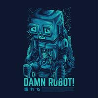 verdammt Roboter Vektor Illustration Tattoo-Design