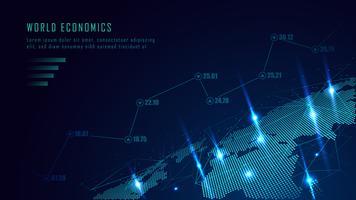 Världskarta med graf i futuristiskt koncept vektor