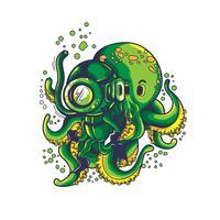 grüner Krakenvektorillustrations-T-Shirt Entwurf