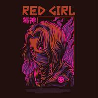 rotes Mädchenvektorillustrations-Tätowierungsdesign