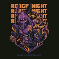 Känguru-Nachtillustrations-T-Shirt Design