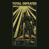 total besiegter Illustrations-T-Shirt Entwurf