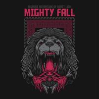 dunkler Löwevektorillustrations-T-Shirt Entwurf
