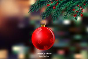 Julgranfilialer med prydnaden vektor