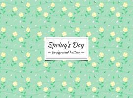 Frühlingsgelbes Blumenmuster mit grünem Hintergrund vektor