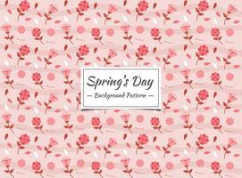 Vårens sömlösa mönster med röda och rosa blommor