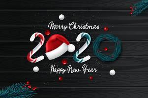 2020 nytt årskort med julbakgrund vektor