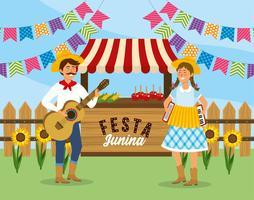 Mann und Frau mit Gitarre und Akkordeon Festa Junina vektor
