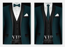 Uppsättning av gröna kostym visitkortsmallar