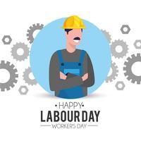 Professionell mekaniker med kugghjul för Labor Day vektor