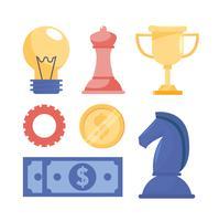 Satz Geschäftsstrategiegegenstände und -elemente