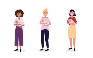 Satz Frauen, die Neugeborene halten