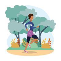Frau läuft in Landschaft