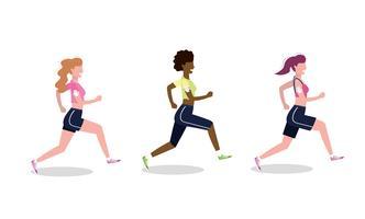 Uppsättning av kvinnor som övar löpning