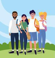 Universitätsfreunde in Freizeitkleidung