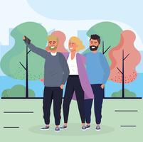 Freunde, die Selfie im Park nehmen